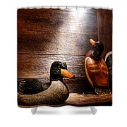 Decoys In Old Hunting Cabin Shower Curtain