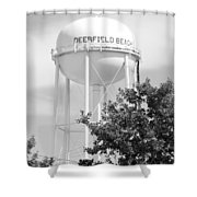 Deerfield Beach Tower In Black And White Shower Curtain