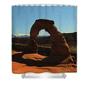 Delicate Arch Under Moonlight Shower Curtain