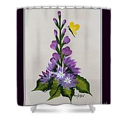 Delphenium And Butterfly Shower Curtain