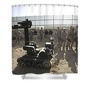 Demonstration Of A Bomb Disposal Robot Shower Curtain