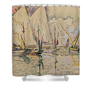 Departure Of Tuna Boats At Groix Shower Curtain by Paul Signac