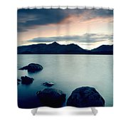 Derwent Water With Catbells At Sunset Shower Curtain
