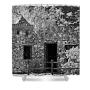 Desert Castle Black And White Shower Curtain