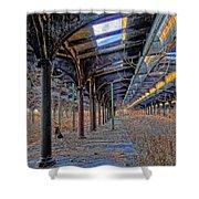 Deserted Railroad Platforms Shower Curtain
