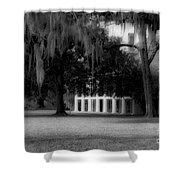 Destrehan Plantation In Black And White Shower Curtain
