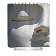 Detail Of The Face Of A White Buddha Shower Curtain
