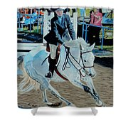 Determination - Horse And Rider - Horseshow Painting Shower Curtain