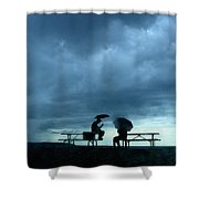 Determined Park Visitors Sit On Picnic Shower Curtain