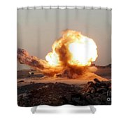 Detonation Of A Weapons Cache Shower Curtain by Stocktrek Images