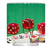 Dice Red Cards Hook 1 B Shower Curtain