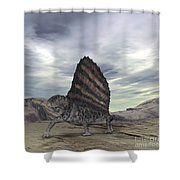 Dimetrodon Grandis Traverses Earth Shower Curtain by Walter Myers