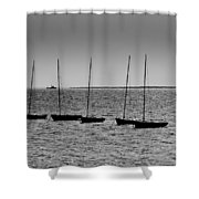 Dinghies Moored Off Of Leigh On Sea Essex Shower Curtain