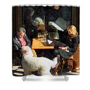 Dining Out With The Family Shower Curtain