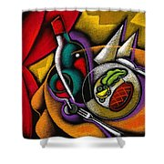 Dinner With Wine Shower Curtain by Leon Zernitsky
