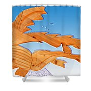 Dinosaur Fish With Bubbles Shower Curtain