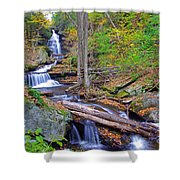 Distant Ozone Falls And Rapids In Autumn Shower Curtain