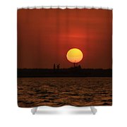 Distant Sunset Shower Curtain