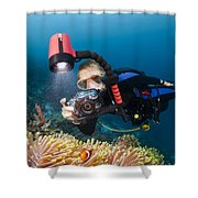 Diver And Anenome Fish Shower Curtain