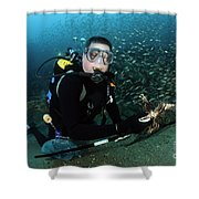 Diver Collects Invasive Lionfish Shower Curtain