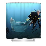 Diver Removes Invasive Indo-pacific Shower Curtain