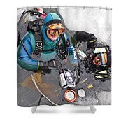 Diving In The Ice Shower Curtain
