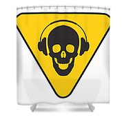 Dj Skull On Hazard Triangle Shower Curtain by Pixel Chimp