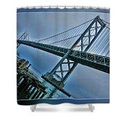 Dock By The San Francisco Bay Bridge Shower Curtain