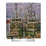 Docked Fishing Boats Hdr Shower Curtain
