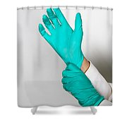 Doctor Putting On Gloves Shower Curtain