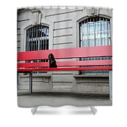 Dog On A Big Red Bench Shower Curtain