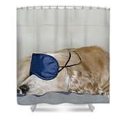 Dog Sleeping With A Sleep Mask Shower Curtain