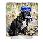 Dog With Diving Mask Shower Curtain
