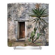 Door In Spanish Mission Building Shower Curtain