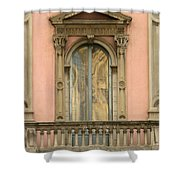 Doors Balcony And Duomo Reflection In Milan Italy Shower Curtain