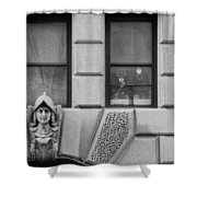 Dos Windows In Black And White Shower Curtain