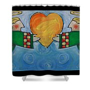 Double Angels With Heart Shower Curtain