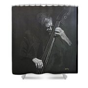 Double Bass Player Shower Curtain