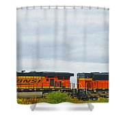 Double Bnsf Engines Shower Curtain