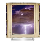 Double Lightning Strike Picture Window Shower Curtain