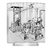 Double Oscillating Steam Engine Shower Curtain