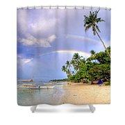 Double Rainbow At The Beach Shower Curtain by Yhun Suarez