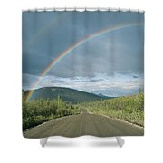 Double Rainbow Over The Denali Highway Shower Curtain