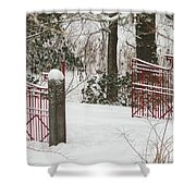 Double Red Iron Gates Shower Curtain