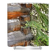 Dovetail Log Construction Shower Curtain