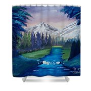 Down The Mountain And Into The Woods Shower Curtain