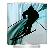 Downhill Skiing On Icy Ribbons Shower Curtain