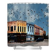 Downtown Bryan Texas 360 Panorama Shower Curtain by Nikki Marie Smith