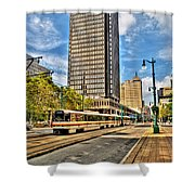 Downtown Buffalo Metro Rail  Heading To The Erie Canal Harbor Shower Curtain