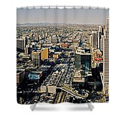 Downtown Calgary With The Canadian Rockies ... Shower Curtain